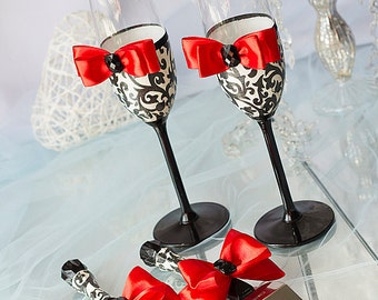 Damask wedding set, wedding cake server and knife,champagne flutes, red, black and white, wedding gift ideas, wedding supplies, 4 pcs