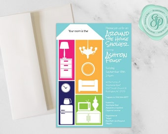Around the House Invitation Bold   Wedding Shower   5x7 Invitation   A7 Envelopes   Download and Printing Avaliable   Custom Invitation