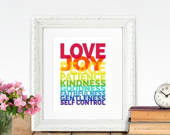 Fruit of the Spirit Wall Art PRINTABLE Scripture Galatians 5 Love joy peace patience kindness goodness faithfulness gentleness self control