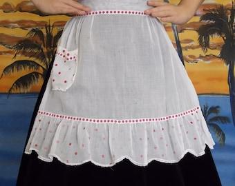 1950 Vintage Linen Polka Dot Apron
