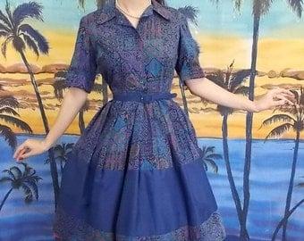 1950 Vintage Navy Novelty Print Dress