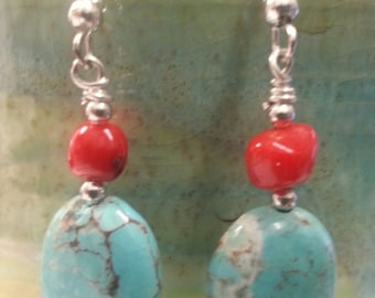 Oval Turquoise Maganasite with Red Coral Nugget Dangle Earring