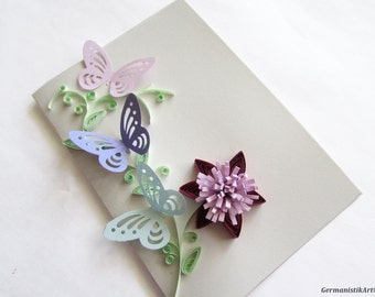 Purple Butterfly Card, Flower Card, Birthday Quilling Card, Thanksgiving Card, Mother's Day Card, Girlfriend Card, Romantic Gift