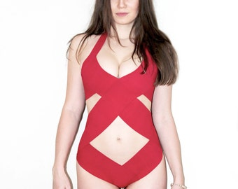 RED Bandage swimsuit/ bathing suit as seen in GQ, one piece, bandage swimwear, Criss cross Top