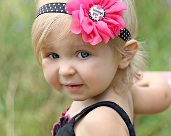 Mommy's Girl Headband, Pink Black Headband, Hot Pink Headband, Polka Dot Headband, Newborn Photo Prop, Baby Shower Gift, Pink Roses, Mother