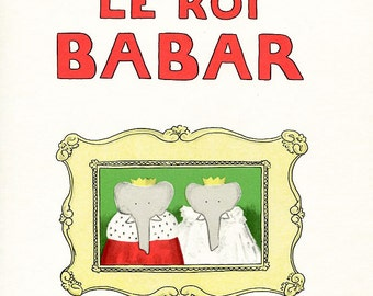 "Babar The Elephant - Large Vintage French Book Page - 14.2""  x 10 inches - A21"