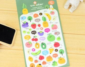 cartoon fruit sticker colorful fruit party peach Strawberry puffy sticker pineapple kiwi melon cookbook label recipe notebook mini label