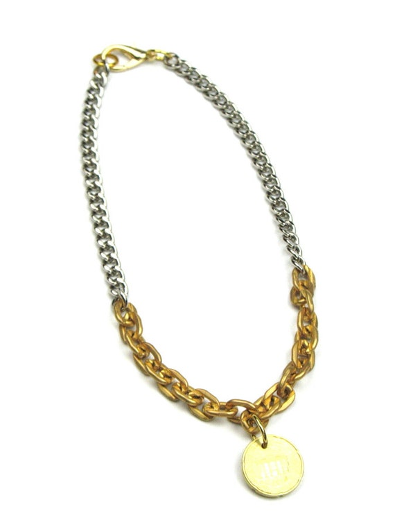 Gold Silver Necklace with Solid Brass Chunky Chain, Silver Curb Chain and Coin Charm for Women or Men