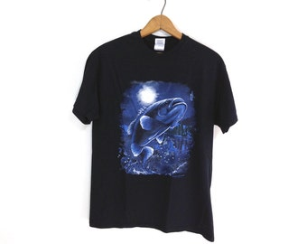 Vintage Black T-Shirt with Bass Fish & Dragonfly Graphic