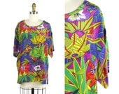 Tropical Silk Oversized Blouse / 1990s Bright and Bold Hawaiian Floral Silk Top