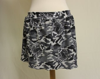 Black Gray and White Cougar Cat Camo Stretch Skater Skirt