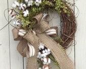 Cotton Wreath, Cotton Boll Wreath, Preserved Cotton Wreath, Spring Wreath, Year round Wreath, Priitive Wreath, Wedding Wreath, Cotton Branch