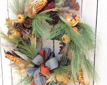 Corn Wreath, Fall wreaths,fall front door wreath,Fall Wreath for front door, Autumn Wreath,Harvest Wreath,Double Door Wreath for fall