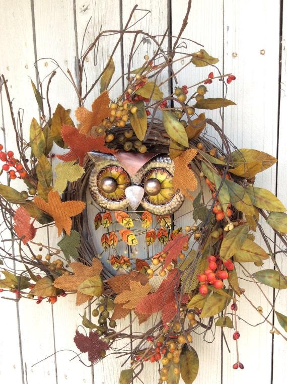 Owl Wreathfall Owl Wreath Autumn Wreath Pumpkin