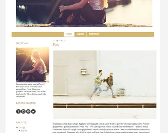 Responsive Premade Blogger Template - Black and Gold - INSTANT DOWNLOAD