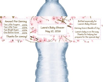 21 Cherry Blossom Baby Shower Personalized Water Bottle Labels