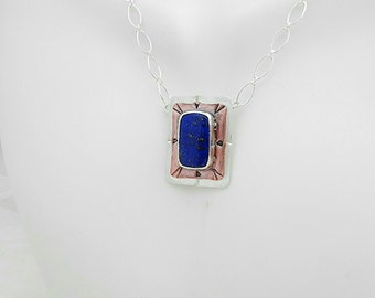 Lapis Lazuli, Copper and Sterling Silver Necklace