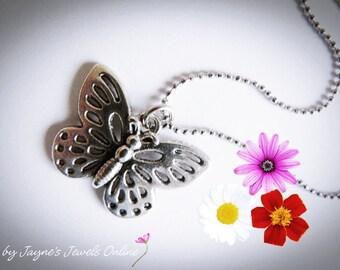 Butterfly Necklace, Butterfly jewelry, Silver Butterfly Pendant, Papillon, Antique Silver Butterfly