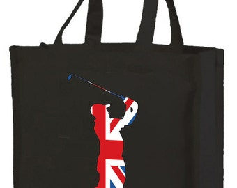 Best of British Golfer Shopping Bag with gusset and long handles, 3 colour options