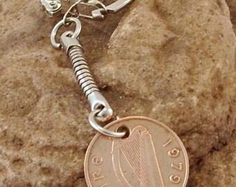 1979 1p One Pence Penny Pingin Irish Coin Keyring Key Chain Fob 38th Birthday