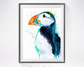 Puffin watercolor painting print,  Puffin art, Puffin illustration, bird watercolor, animal illustration, bird art, animal art, art print