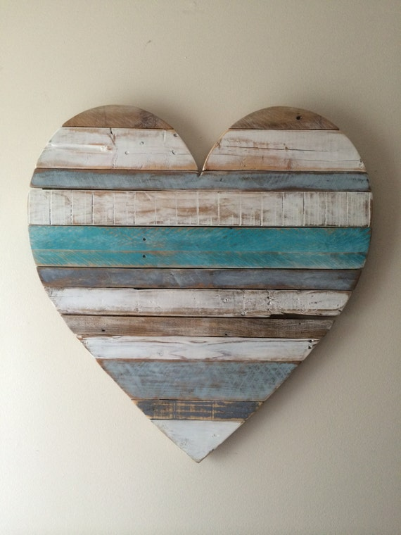 Heart Wall Decor With Pictures : Rustic reclaimed large turquoise heart beach cottage