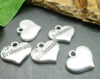 10 Bridesmaid Charms - Silver Wedding Charms in bulk -MC0748