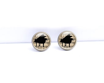Grand Piano earrings, Music Earrings Studs, Antique Brass Studs,10mm studs, music brass earrings, Music stud earrings, Piano music jewellery