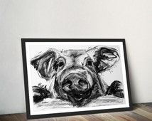 Pig Art Print Pig Wall Art Pig Charcoal Illustration Pig Kitchen Decor Gift For New Home