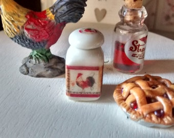 Dolls House miniature Rooster Decorative ceramic jar / canister