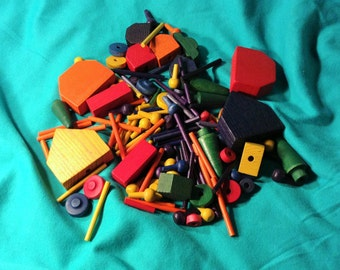Lot of Tiny Tinkertoys - Colorful Building Toys