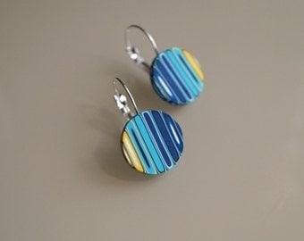 Drop earrings Striped earrings Dangle earrings Turquoise earrings Yellow, navy blue earrings Modern earrings Geometric jewelry