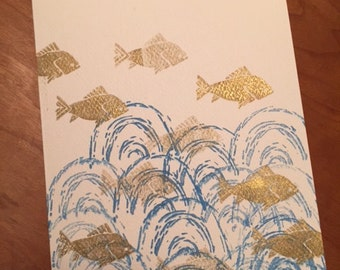 FISH & TREES - A Set of 4 Handmade Cards