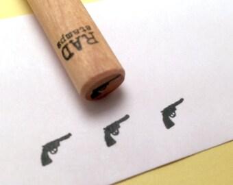 Tiny Pistol Rubber Stamp, revolver, gun