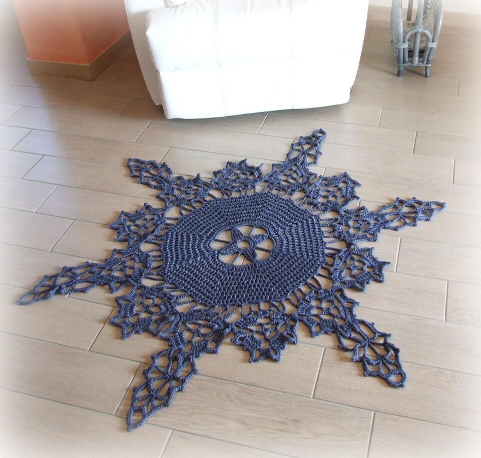 Snowflakes Rug Snow Crystal Rug Crochet Round Rug In Blue