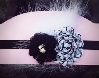 Black and White Flowers and Feathers Headband