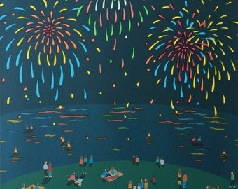 Fireworks, People watching Fireworks, Screen Print Art by Mari Sakamoto