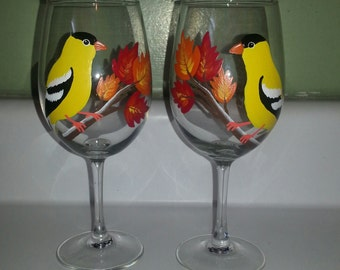 Finch fall wine glasses, set of two
