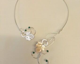 Silver Vine torc necklace Swarovski elements emerald green grape leaves collar