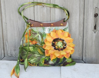 Unique felted bag, large shoulder bag with 3D sunflower with wooden handcrafted handles. OOAK
