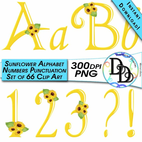 Yellow Sunflower Alphabet Digital Clip Art Printable Graphics