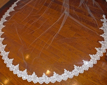 2 tiers lace cathedral veil, beaded with pearls, cathedral veil with blusher, wedding veil with pearls