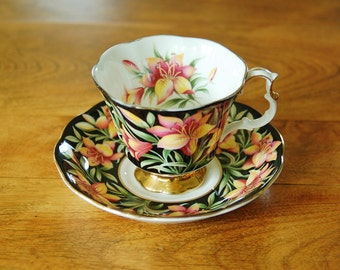 Royal Albert Provincial Flowers Prairie Lily Footed Tea Cup and Saucer, Tea Party, English Bone China 1975 Trillium Gainsborough Teacup