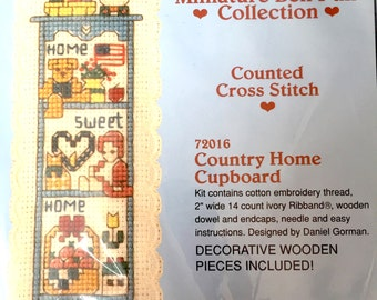 Miniature Bell Pull Collection Counted Cross Stitch Kit, Country Home Cupboard, Home Sweet Home, Embroidery Kit, 72016, Needlepoint Pattern