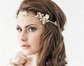 Champagne Rose gold bridal headband - Wedding hair band, Spring blossom headband, Bridal Leaf headband