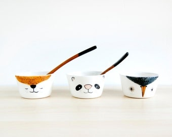 Ceramic bowls set x 3, Small animals pottery bowls, White pottery ceramic bowls, Bowls set, Cute ceramic bowls, Ceramics & pottery, ceramics