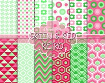 """Retro geometric digital paper: """"GREEN & RED RETRO"""" with retro geometric patterns, triangles, honeycomb, circles, polka dots, houndstooth"""
