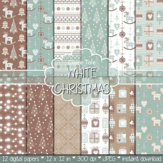"Christmas digital paper: ""WHITE CHRISTMAS"" christmas backgrounds with deers, snowflakes, christmas trees, lights, gifts, balls, damask"