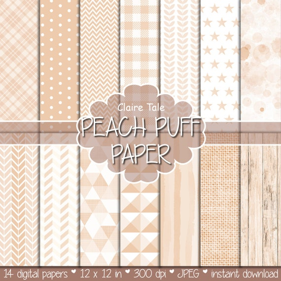 Peach digital paper, Peach printable paper, Peach digital pattern, Peach scrapbooking paper, Peach printable party invitation background