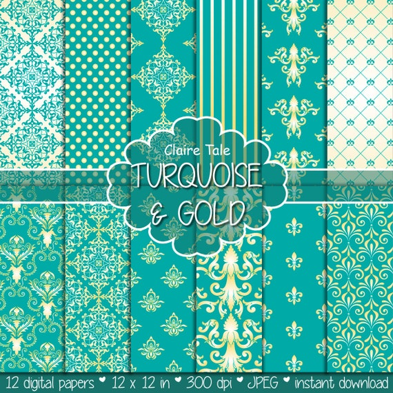 damask digital paper turquoise amp gold damask with